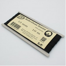 Kokvilnas lentes - melns 13mm / 10m